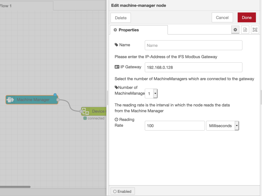 Configuration Interface of the Machine Manager Node
