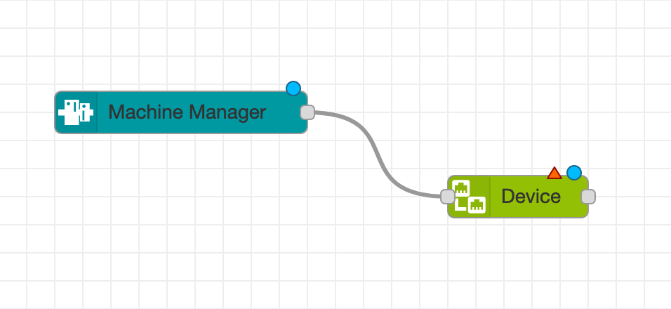 Connect the Machine Manager Node to the Proficloud Device Node by creating a wire between the output port of the Machine Manager Node and the input port of the Proficloud Device Node. You can create a wire by clicking and holding on the output port, then dragging to the input port and releasing. The result should look like this: